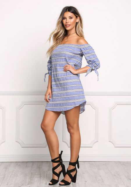 Blue Chambray Bardot Shift Dress