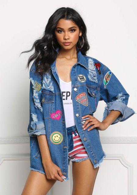 Denim Distressed & Patched Boxy Jacket