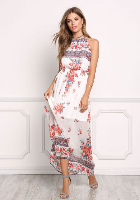 White and Red Chiffon Rose Lace Up Maxi Dress