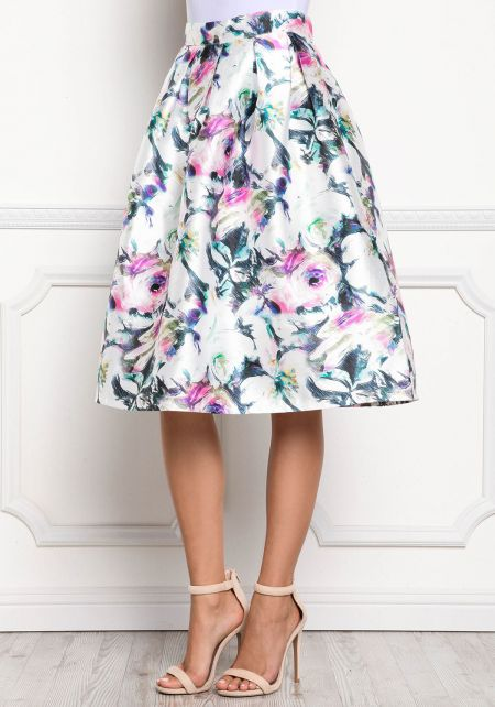 Multi Floral Print Taffeta Flared Skirt