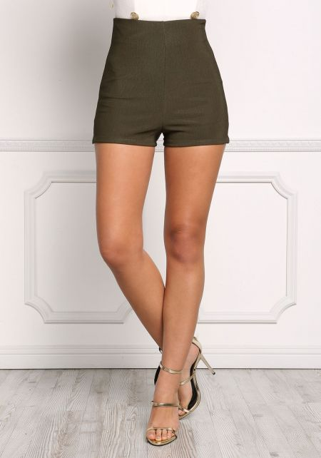 Olive High Rise Minimalist Shorts