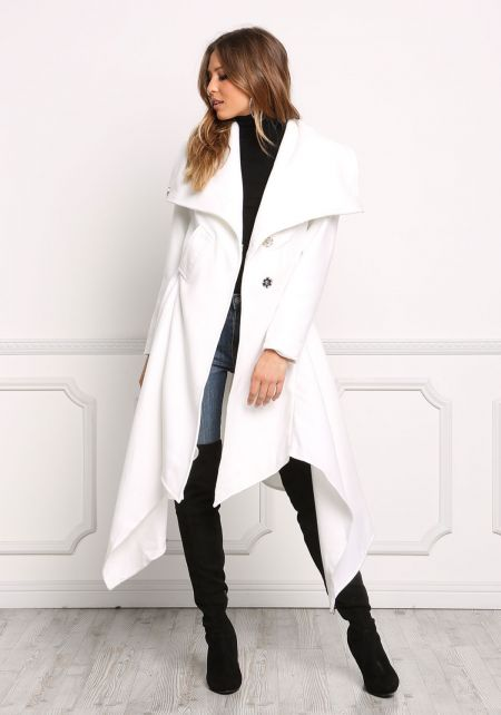 Ivory Fold Over Pointed Longlined Coat
