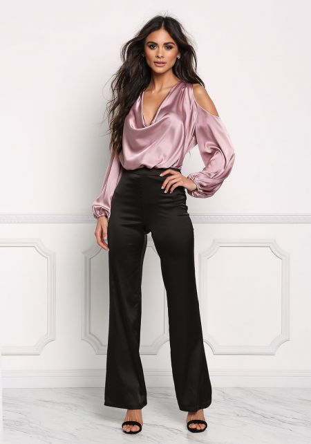 Mauve Silky Cold Shoulder Cowl Neck Blouse