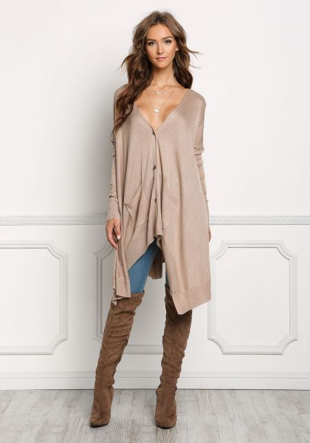 Taupe Button Down Pointed Cardigan