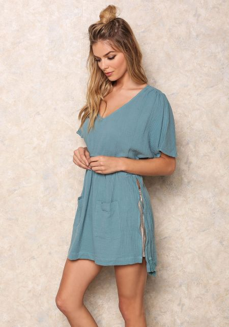 Teal Blue Woven Slit Dress