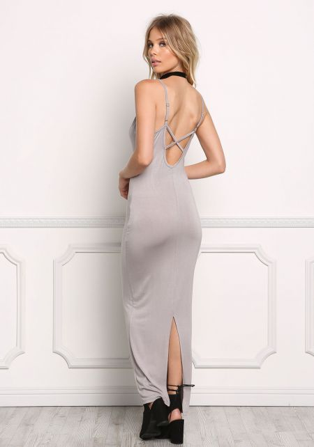 Silver Jersey Knit Slit Cami Maxi Dress