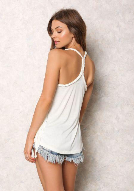 Cream Jersey Knit Braided Strap Fringe Tank Top