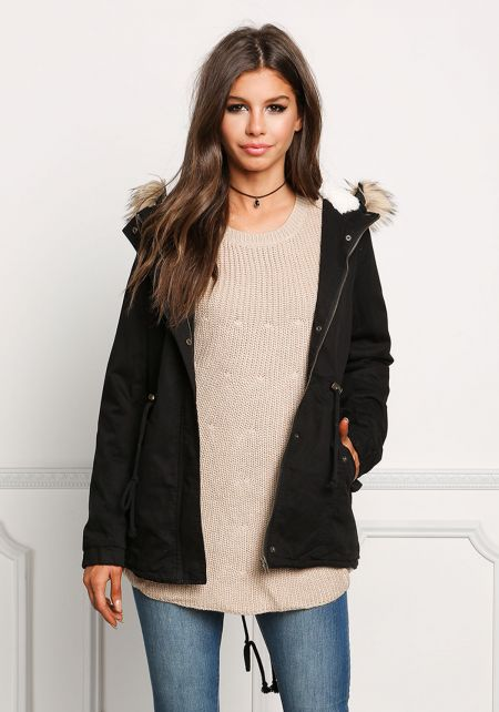 Black Shearling Hooded Utility Jacket