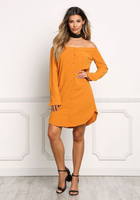 Mustard Off Shoulder Button Down Shift Dress