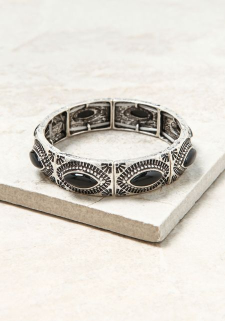 Silver and Black Stone Engraved Bracelet