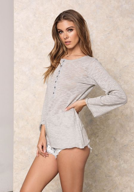 Heather Grey Burnout Button Up Top
