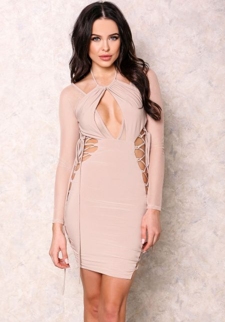 Nude Sheer Lace Up Bodycon Dress