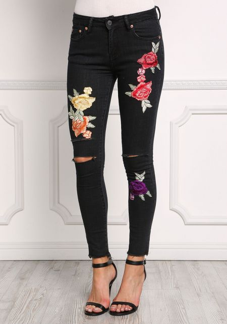 Black Rose Patched Knee Slit Skinny Jeans
