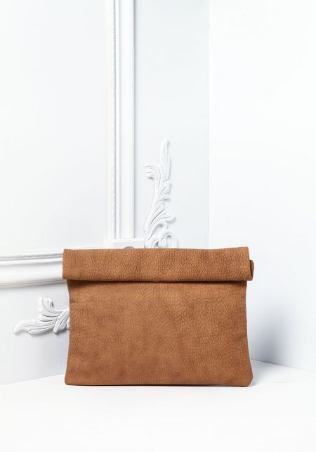 Camel Textured Leatherette Roll Up Clutch
