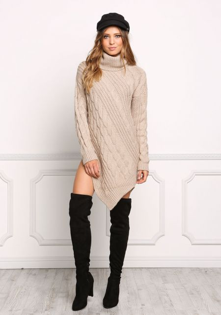Taupe Pointed Cable Knit Turtleneck Dress