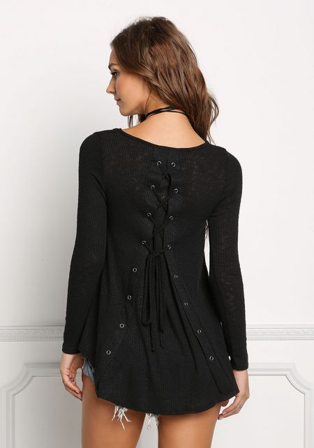 Black Burnout Lace Up Long Sleeve Top