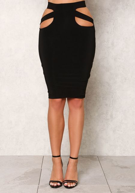 Black High Waist Cut Out Skirt