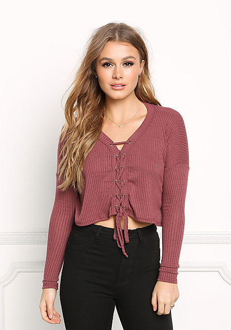 Burgundy Lace Up Sweater Crop Top