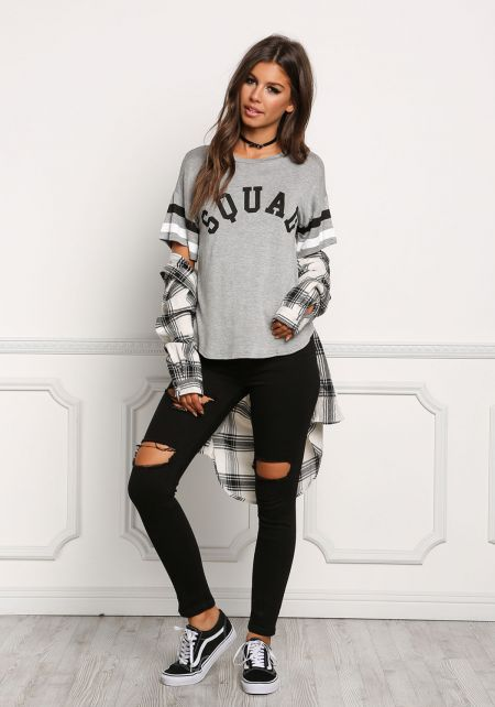 Grey Squad Stripe Tee