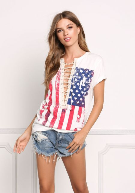 White Vintage Stars & Stripes Plunge Lace Up Tee