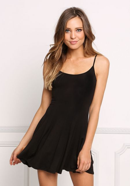 Black Simple Layer Tank Dress