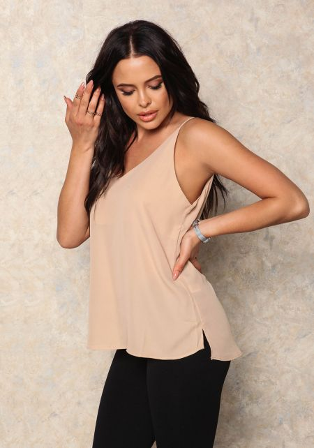 Taupe V Neck Tank Top