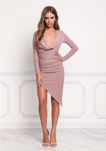 Mauve Plunge Cowl Neck Asymmetrical Bodycon Dress