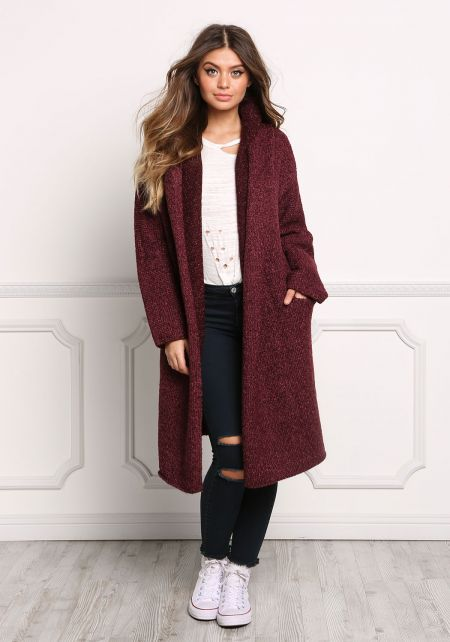 Burgundy Longlined Thick Knit Cardigan