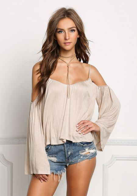 Taupe Jersey Knit Cold Shoulder Flowy Top