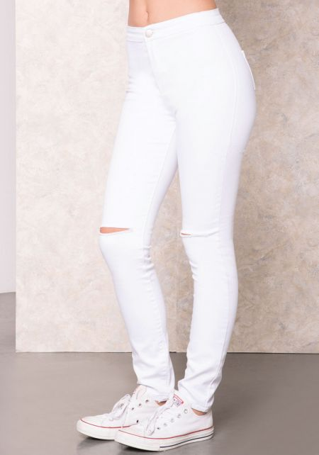 White Distressed Knee High Rise Jeans
