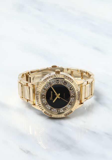 Gold Classic Rhinestone Analog Watch