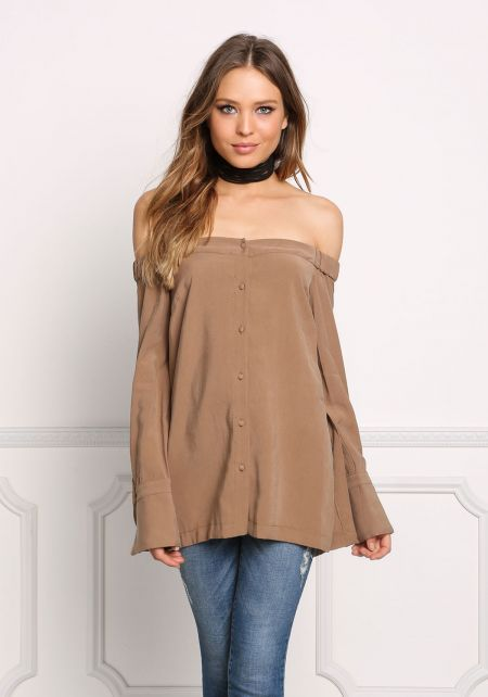 Mocha Off Shoulder Button Down Slit Blouse