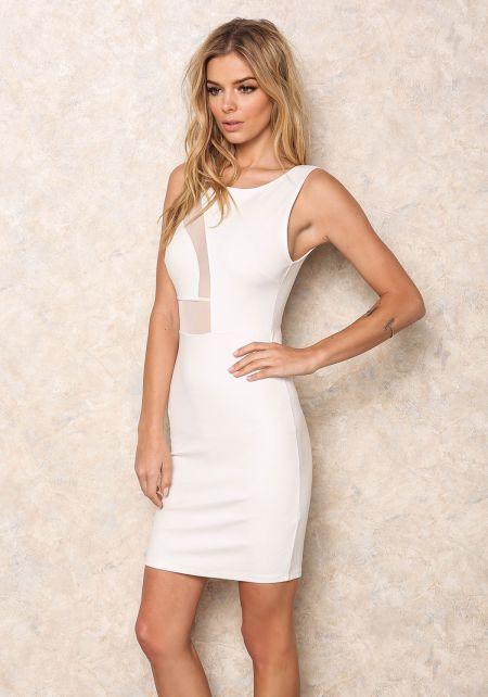 White Mesh Wave Cut Out Dress