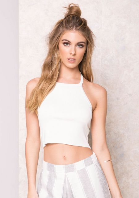 Ivory Basic Ribbed Halter Top