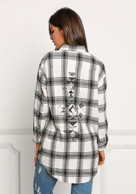 White Back Tribal Print Flannel