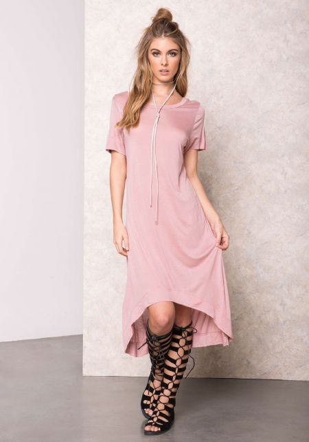 Mauve Soft High Low T-Shirt Dress