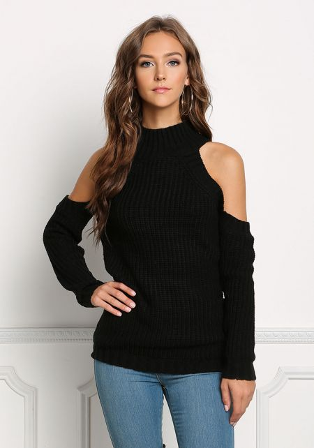 Black Cold Shoulder Sweater Top