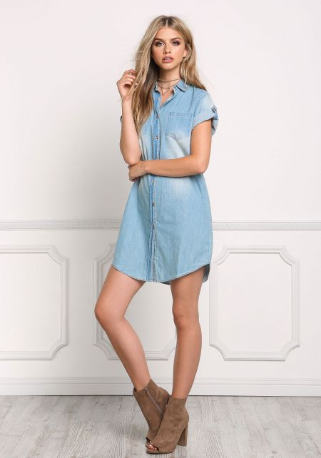 Denim Sandblasted Button Up Dress