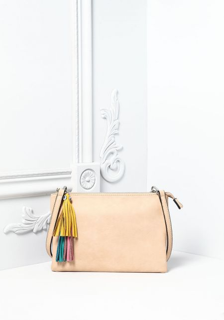 Beige Leatherette Tassel Key Chain Clutch