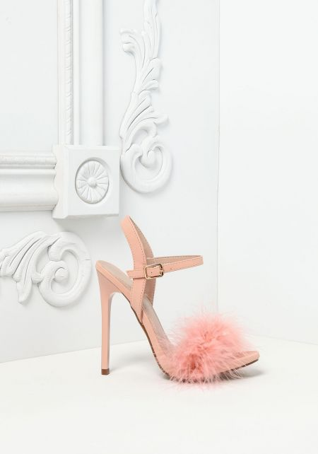 Pink Feather Fluff Heels