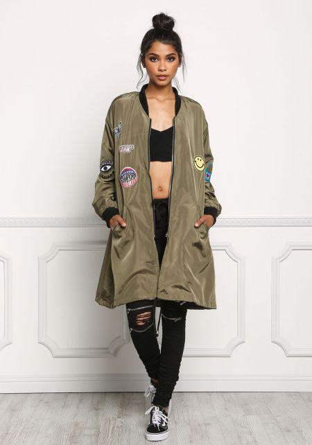 Olive Long Windbreaker Patch Bomber Jacket
