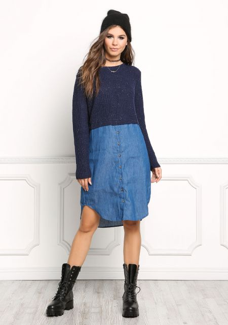 Navy Chunky Knit & Denim Shift Dress