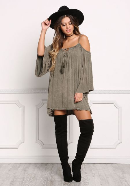 Olive Acid Wash Cold Shoulder Tunic Top