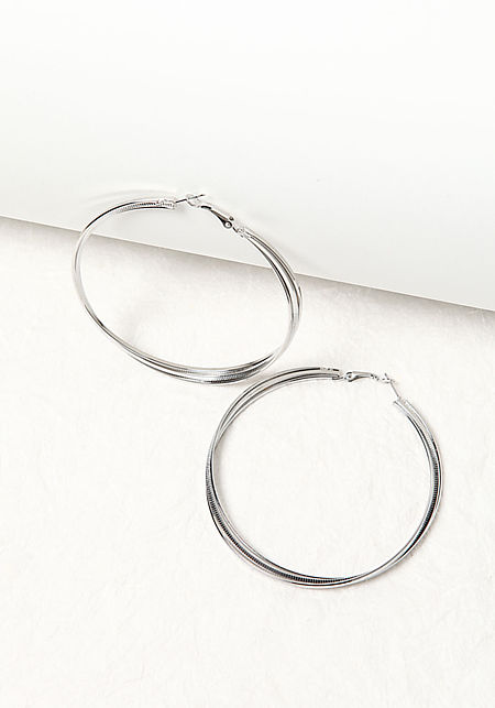 Silver Thick Textured Hoop Earrings