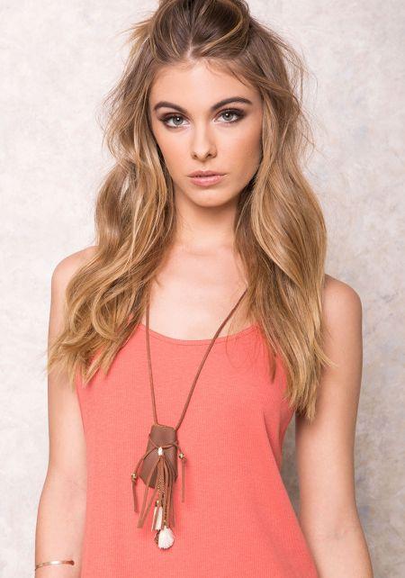 Brown Leatherette Mini Pouch Necklace