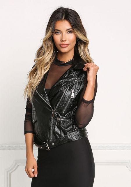 Black Leatherette Zipper Trim Vest