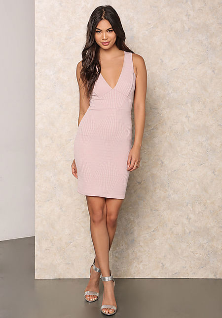 Blush Embossed Cross Strap Bodycon Dress