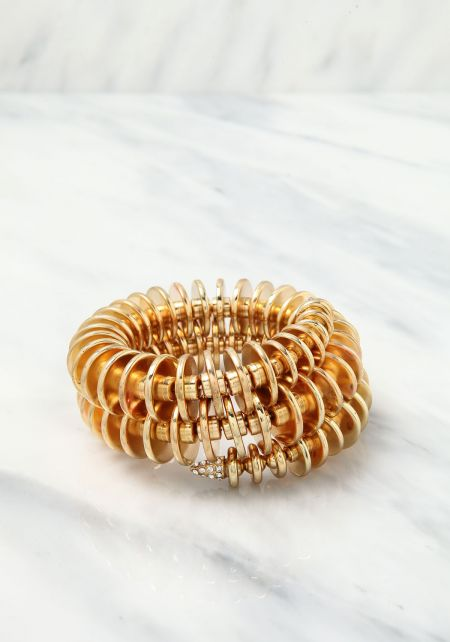 Gold Wrap Around Rhinestone Cuff