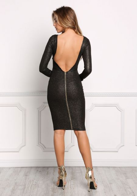 Gold and Black Low Back Shimmer Bodycon Dress