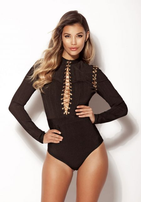 Black Chain Lace Up Bandage Bodysuit